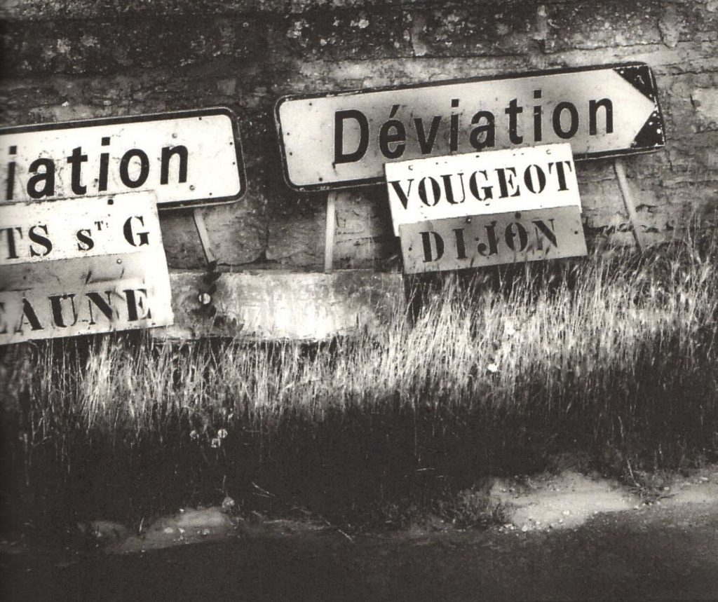 Burgundy road signs