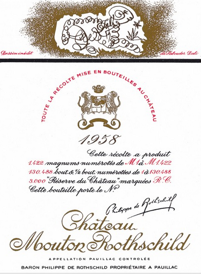 Château Mouton Rothschild 1958 label by Salvador Dalí