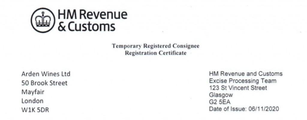 HMRC Temporary Registered Consignee Arden Fine Wines
